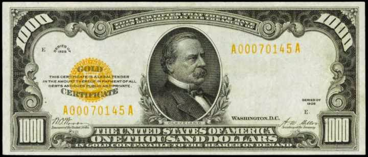 1928 1000 Dollar Gold Certificate Grover Cleveland