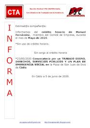 C.T.A. INFORMA CRÉDITO HORARIO MANUEL FERNANDEZ, MAYO 2020