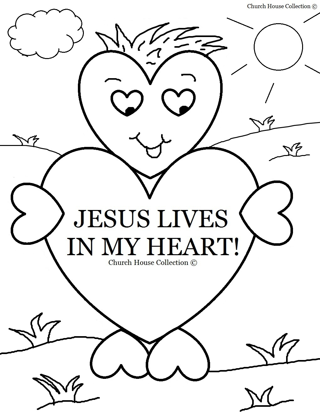 Valentine Day Heart Jesus Lives Coloring Page Sheet