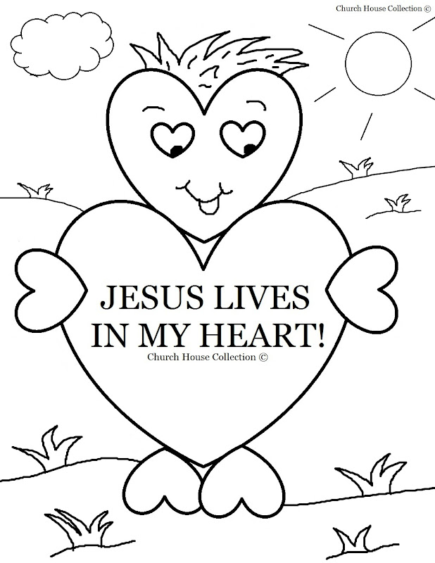 Jesus Lives In My Heart Coloring Page title=