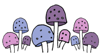 Cute mushroom line in pink, soft purple and blue perfect for fairy page
