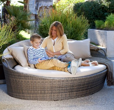 Coral Coast Moorea All Weather Wicker Cabana Day Bed With Canopye, Gorgeous  Round Outdoor