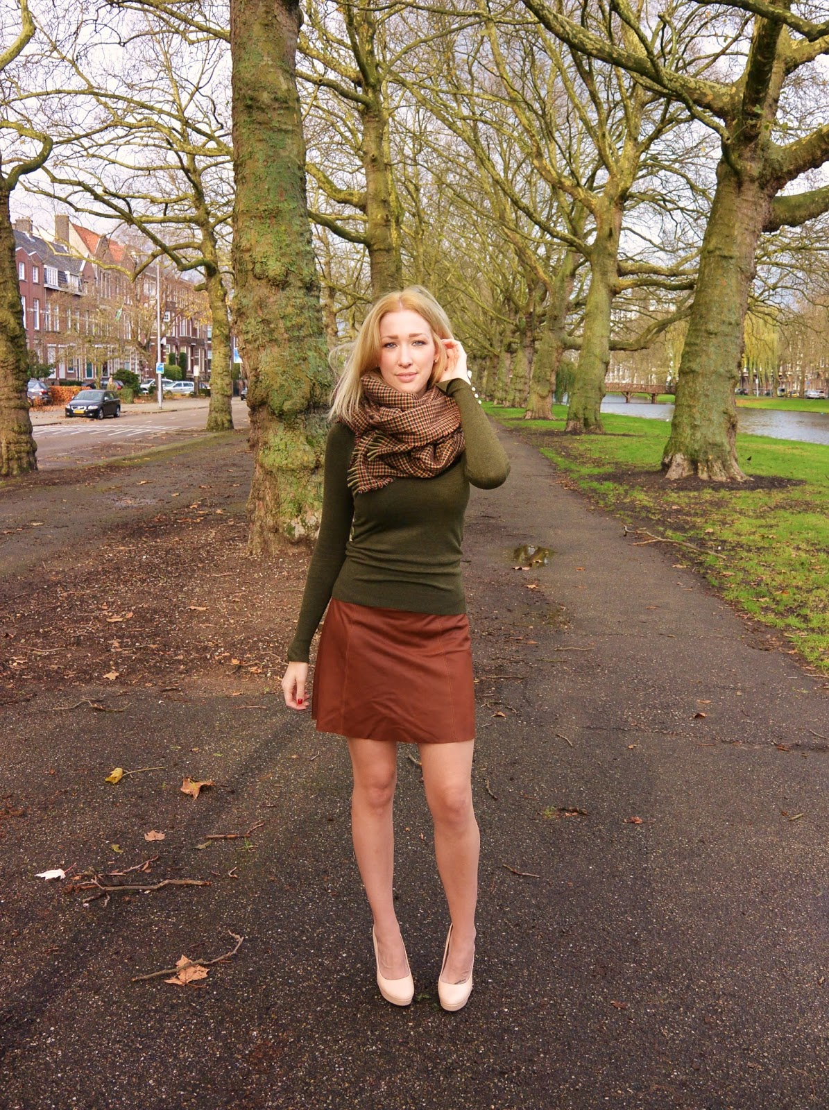 Brown Leather Skirt And Green Sweater | Dashingly Elevating