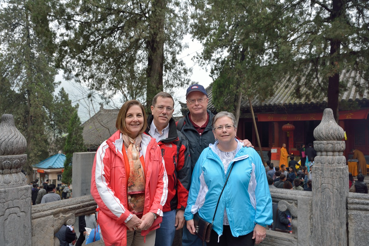 Margot Savage, Tom Savage, Greg Brue and Theresa Brue at the Shaolin Temple