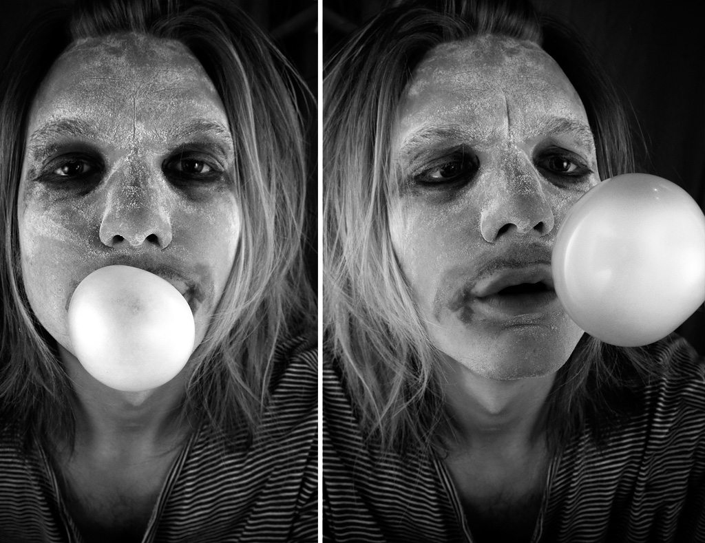 Clown med mjöl i ansiktet