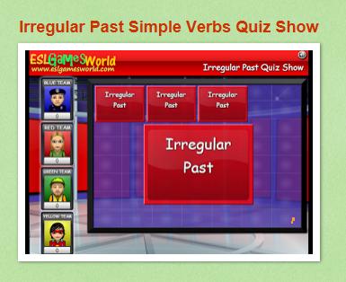http://www.eslgamesworld.com/members/games/ClassroomGames/Quizshow/Irregular%20Past%20Simple%20Quiz%20Show/