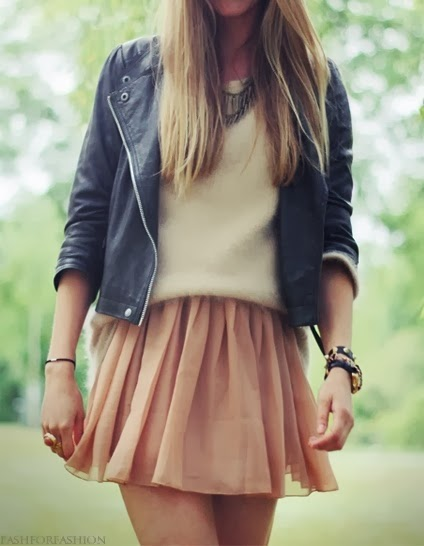 Leather skirt with mini skirt