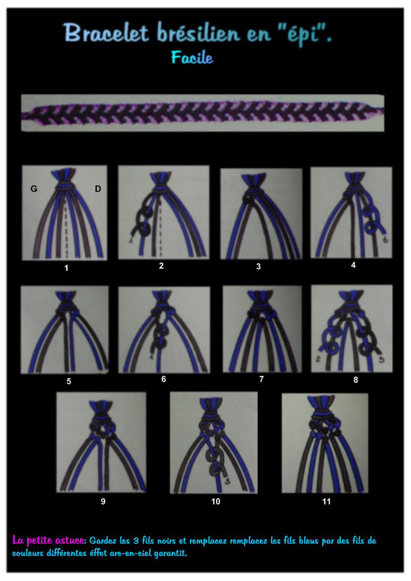 bracelet bresilien 6 fils technique