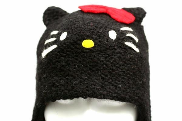 Gambar Topi Hello Kitty Lucu Hitam Penutup Kepala Rajut Hello Kitty