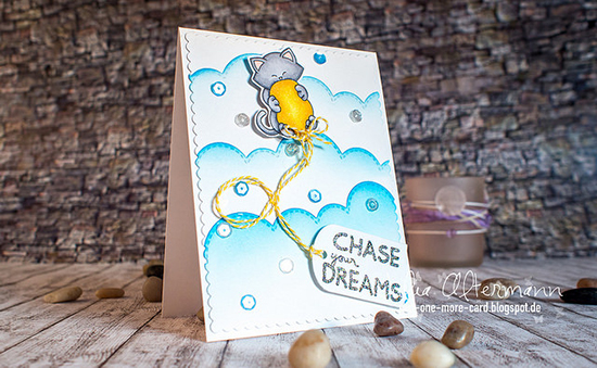 Balloon and Cat card by Julia Altermann| Newton's Birthday Bash set by Newton's Nook Designs #newtonsnook