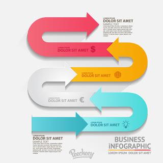 インフォグラフィックス 図案テンプレート Infographics arrows イラスト素材
