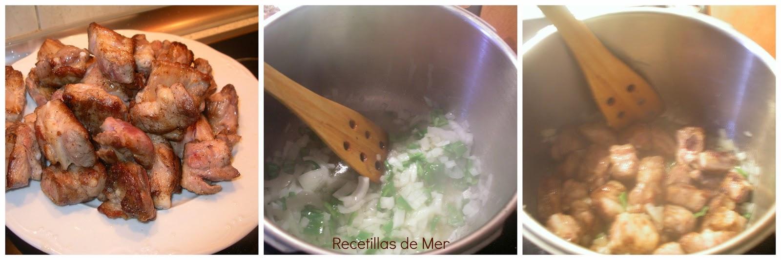 Recetillas de Mer: costillas con patatas.