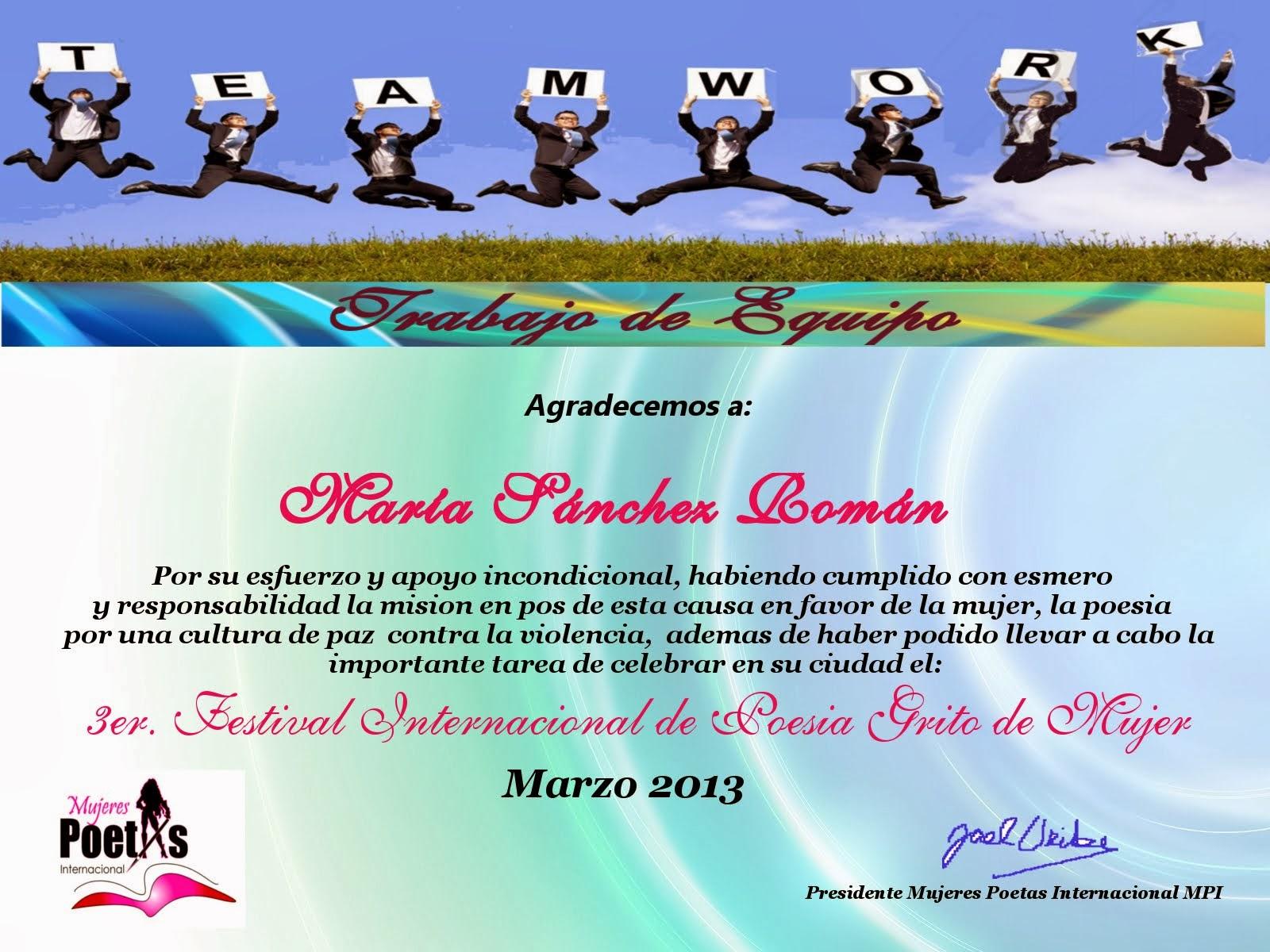 Diploma otorgado por Mujeres Poetas Internacional