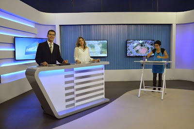 """Ação de lançamento da novela """"Alto Astral"""" ao vivo no estúdio do jornal Bahia Meio Dia"""