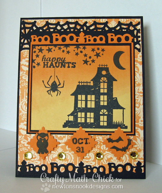 Haunted House Halloween card by Crafty Math-Chick for Newton's Nook Designs | Spooky Street Stamp Set