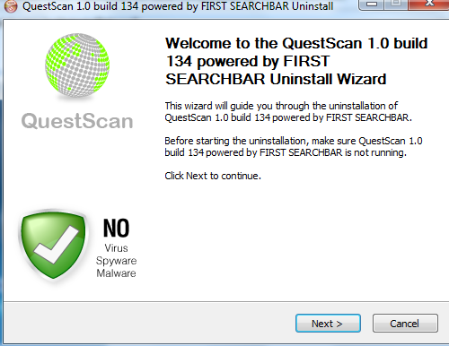How to get rid of questscan search or questscan virus.