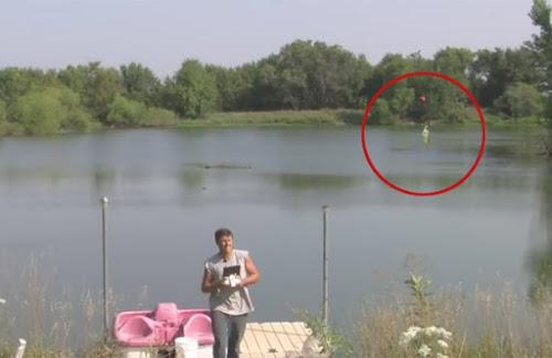 Fazendeiro usa drone para pescar