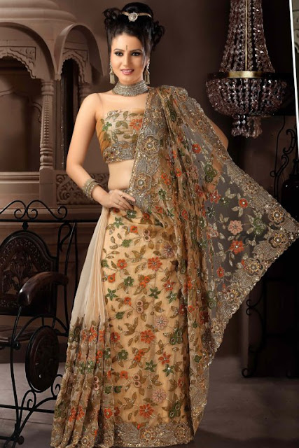 Brown-Net-Wedding-sarees-2012
