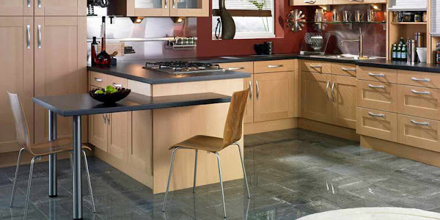 Gray porcelain tile flooring in beautiful kitchen