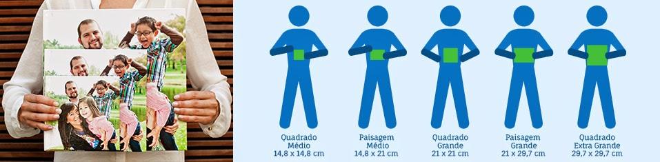 comparativo dos tamanhos dos fotolivros