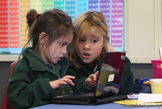 L-R: Dakota Niwa, Zyhnaliyah Harris - Digital technology at Te Awa School, Napier photograph