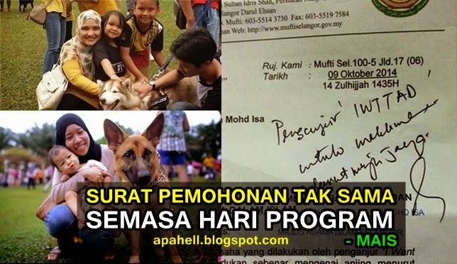 Aktiviti Program Sentuh Anjing Tak Sama Dalam Surat Permohonan Pengerusi MAIS 4 Gambar