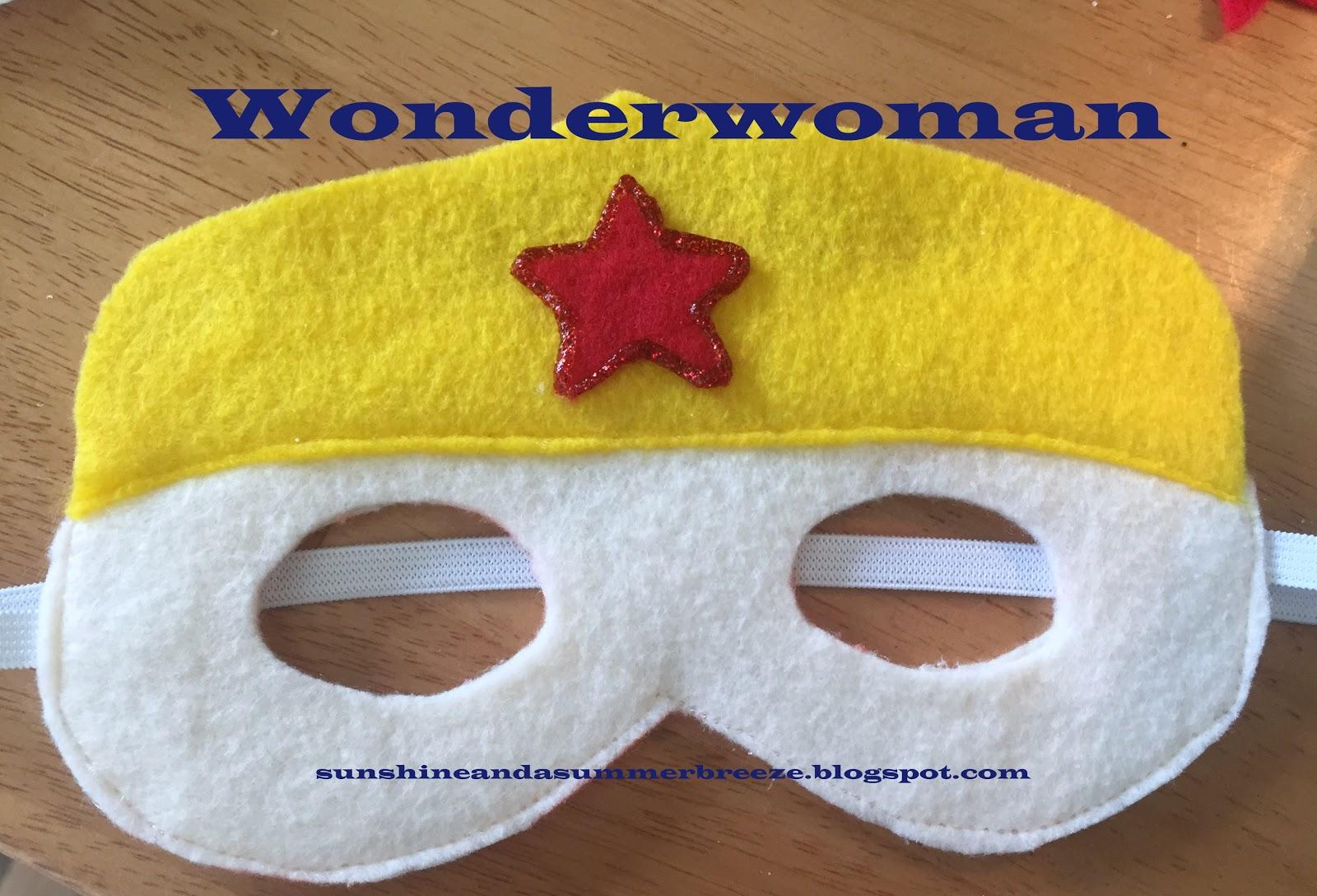sunshine and a summer breeze superman and wonderwoman felt mask