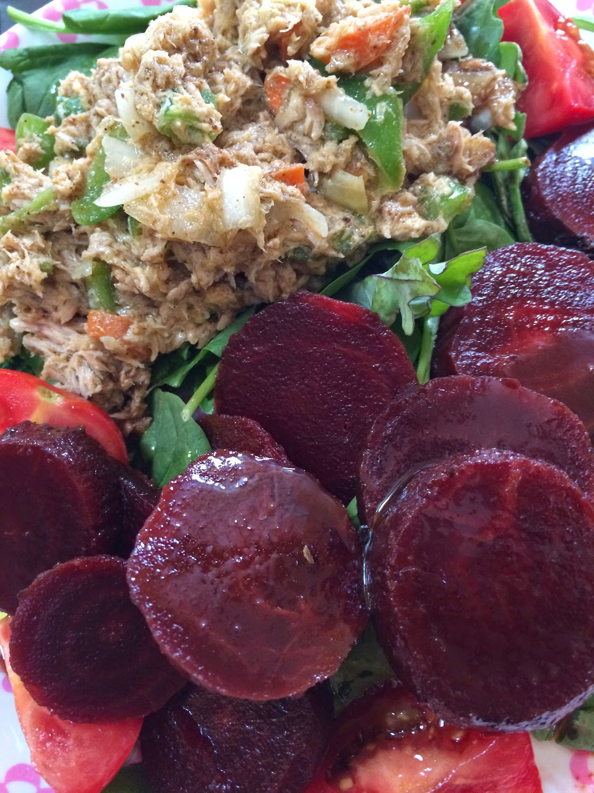Mayo-less tuna salad, Love Beets and pasta with anchovies