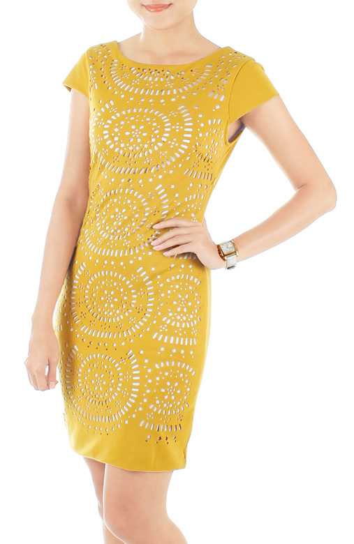 Exquisite Laser Cut Pencil Dress – Sunflower Yellow
