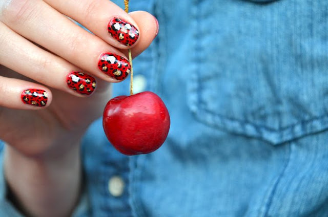 Cute Red Nails with Black and Golden Patterns