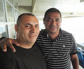 Jornalista Cristovão MARINHEIRO e o penta-campeão e vice-presidente do Grêmio Osasco, Vampeta