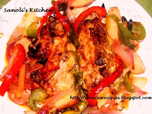 Roasted chicken with vegetable