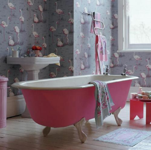 Decoracion Baño Romantico:Vintage Pink Flamingo Bathroom