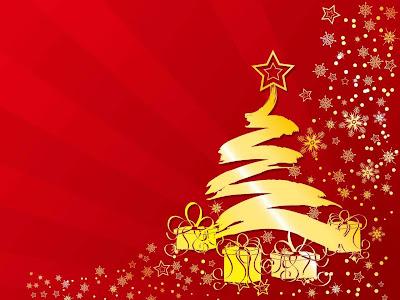 Arbol navideño y estrellas ademas un lindo rojo de fondo