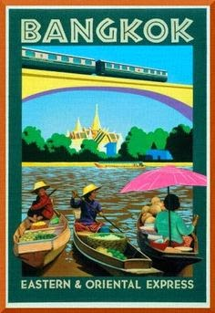 Bangkok: veneitä, juna, silta, temppeli
