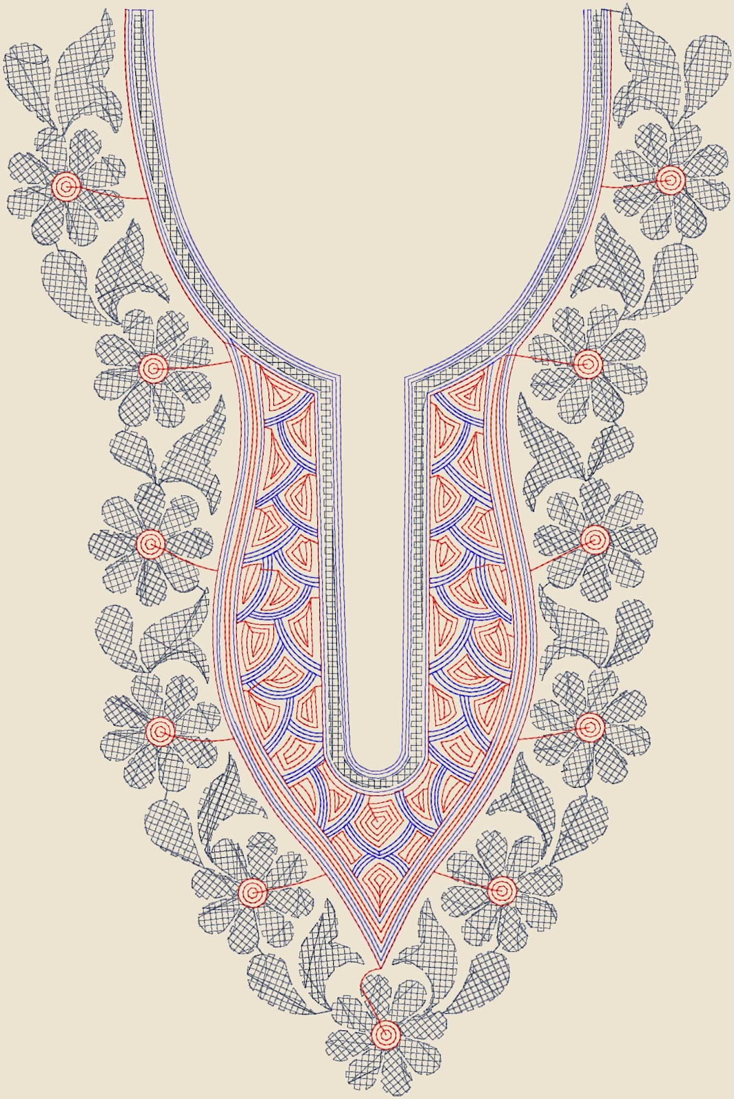 Bed sheet designs hand embroidery - Here You Can See A Fresh Computer Embroidery Design For Ladies Tunics