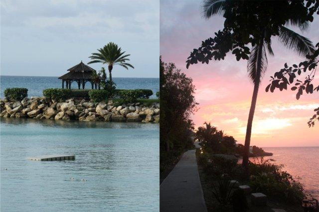 Pabellon y atardecer en el complejo hotelero Blue Waters en Antigua