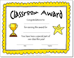 photo of Classroom Award Certificate