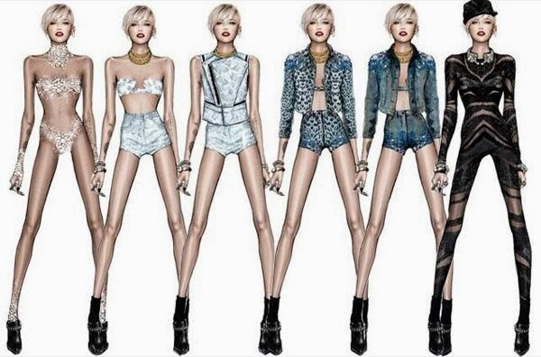Miley Cyrus' Bangerz Tour Costume Sketches