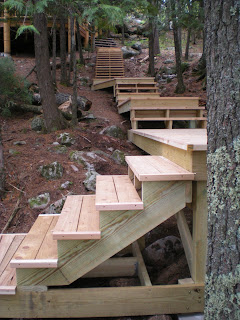 Cedar steps from the lake up to the cabin,  http://huismanconcepts.com/