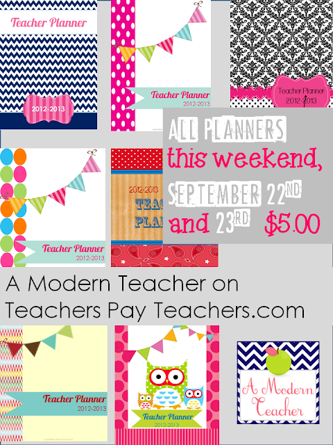 Planner Sale A Modern Teacher weekend only