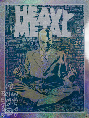 "San Diego Comic-Con 2015 Exclusive Grant Morrison x Heavy Metal x Brian Ewing ""Hail to the Chief"" Foil Variant Screen Print"