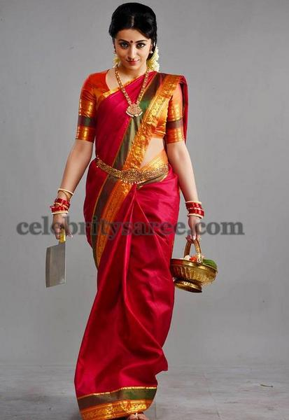 Trisha in Red Traditional Saree