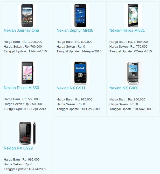 Daftar Harga Hp Nexian Desember 2015