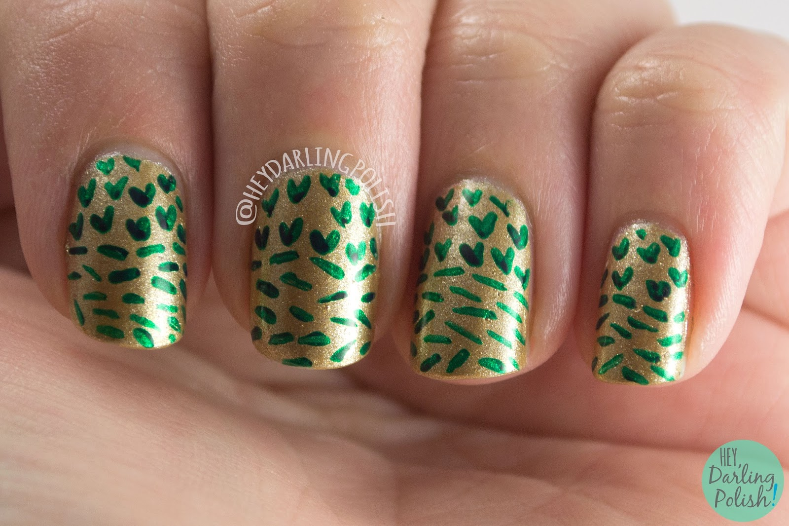nails, nail art, nail polish, gold, green, pattern, hey darling polish, butter london, hobby polish bloggers,