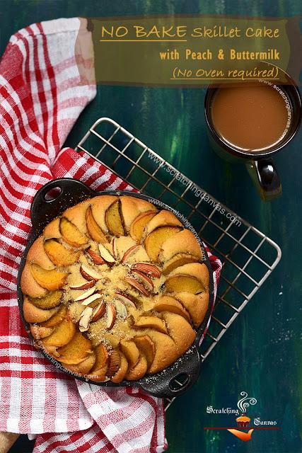 Peach Buttermilk Cake | Gas top Cake Recipe