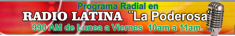 Programa Radial de Lunes  a Viernes de 10am a 11am.