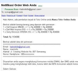 notifikasi order email