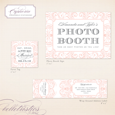 glamorous flourish printable wedding reception stationery design