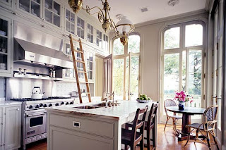 White Kitchen with Library Ladder